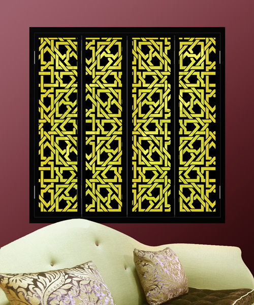 Arabic-pattern-black-window-shutters-with-yellow-lights