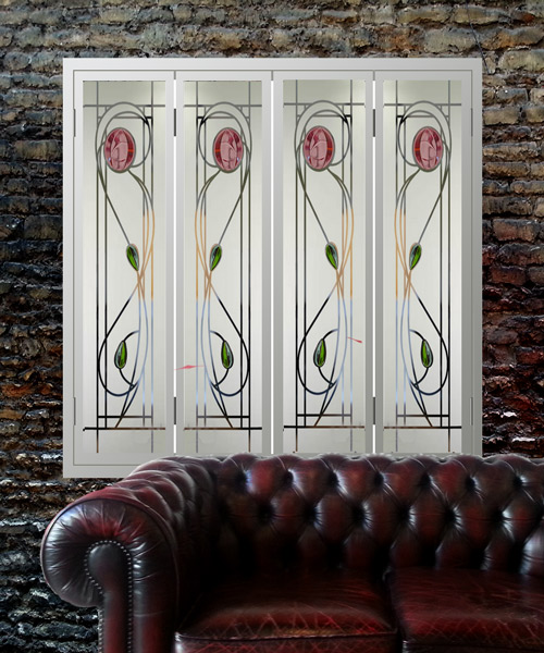 Glass-window-shutters-in-Renee-Mcintosh-style-red-fused-glass-brick-wall