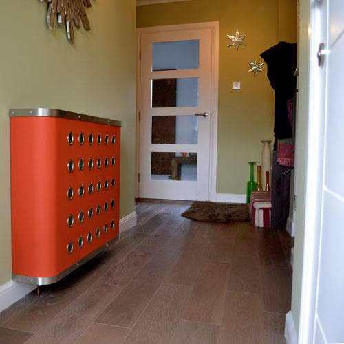 Orange hallway radiator cabinets for modern homes