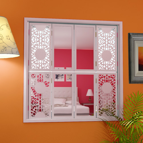 Tier-on-tier-window shutters nottingham-lace-combination-with-central-plain-mirrors